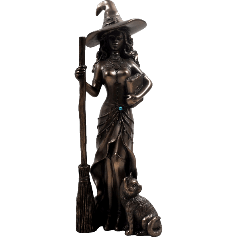 Witch with Cat Cold Cast Bronze Sculpture